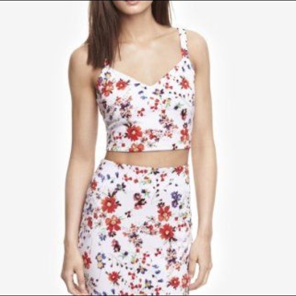 Express Tops White Floral Crop Top Poshmark